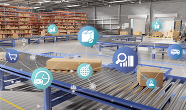 supply warehouse with digital icons