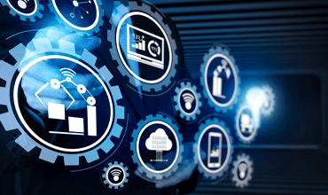 icons with manufacturing equipment, dashboards, mobile device and IoT symbols