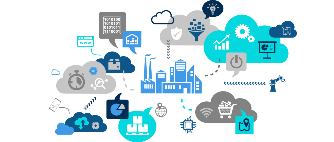 Manufacturing plant with Big Data & quality icons