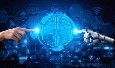 Human hand & robot hand touching computer brain