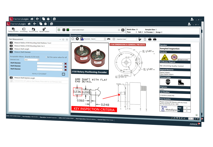 FactoryLogix material management incoming inspection screen image