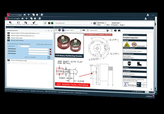 Pantalla de inspección entrante de gestión de materiales de FactoryLogix