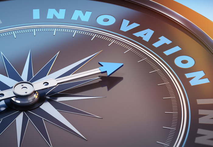 Compass pointing to the word Innovation