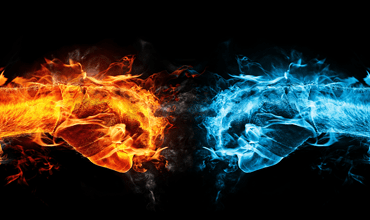 digital flaming fists punching