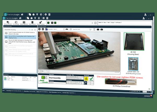 Instrucciones de trabajo interactivas de ejecución de manufactura