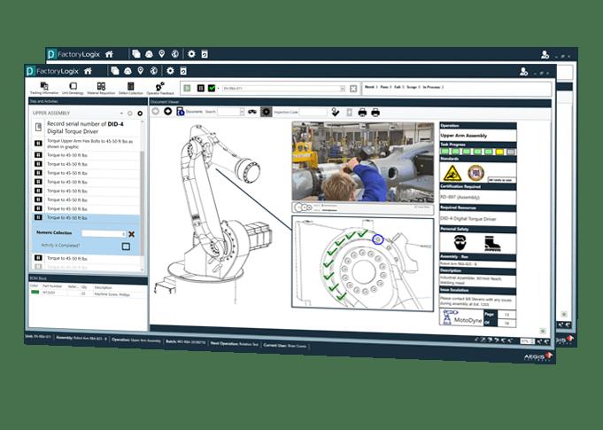 Pantalla de instrucciones de trabajo del sistema de ejecución de manufactura