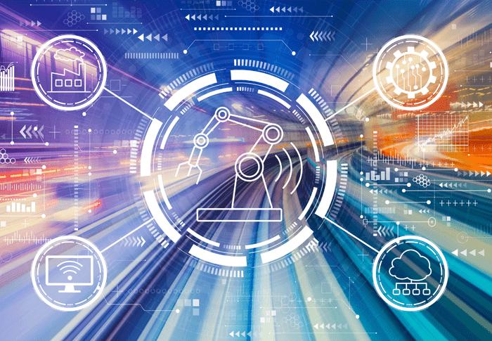 Unscharfe Autobahn mit Fertigungs- und digitalen Symbolen