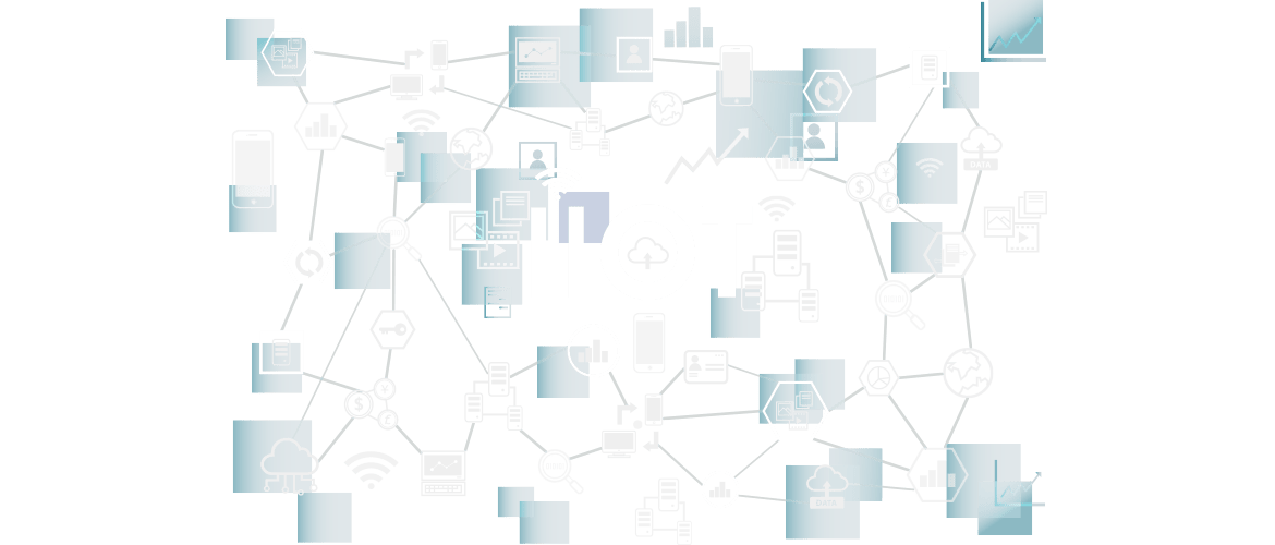 IIoT with mobile, cloud computing, charts & people icons