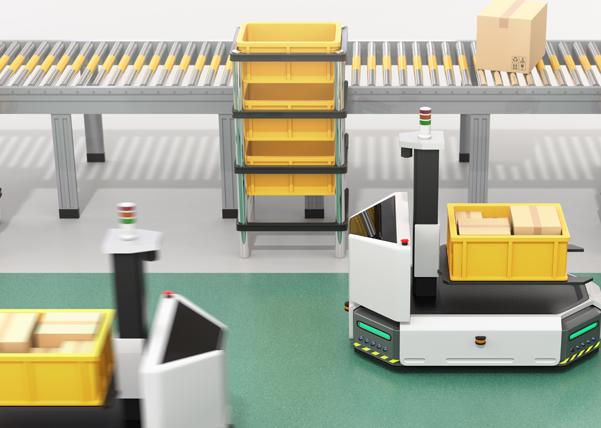 Fahrerlose Transportsysteme in einer Fabrik