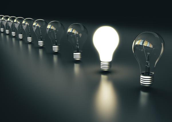 Light bulbs stand in a row