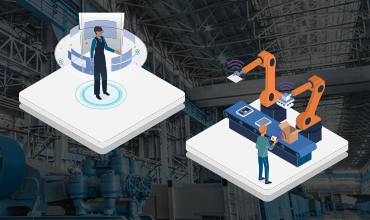 image of person interacting with augmented reality and image of worker at assembly line